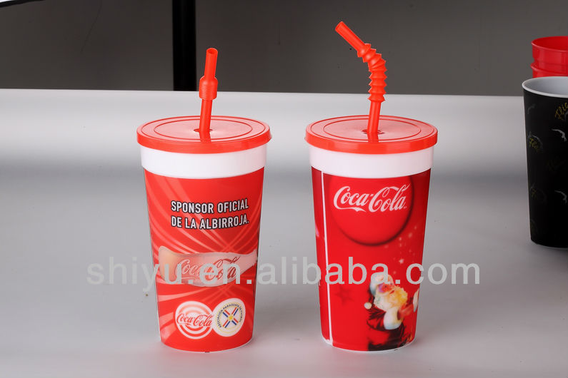 32OZ 3D lenticular plastic cup with lid and straw