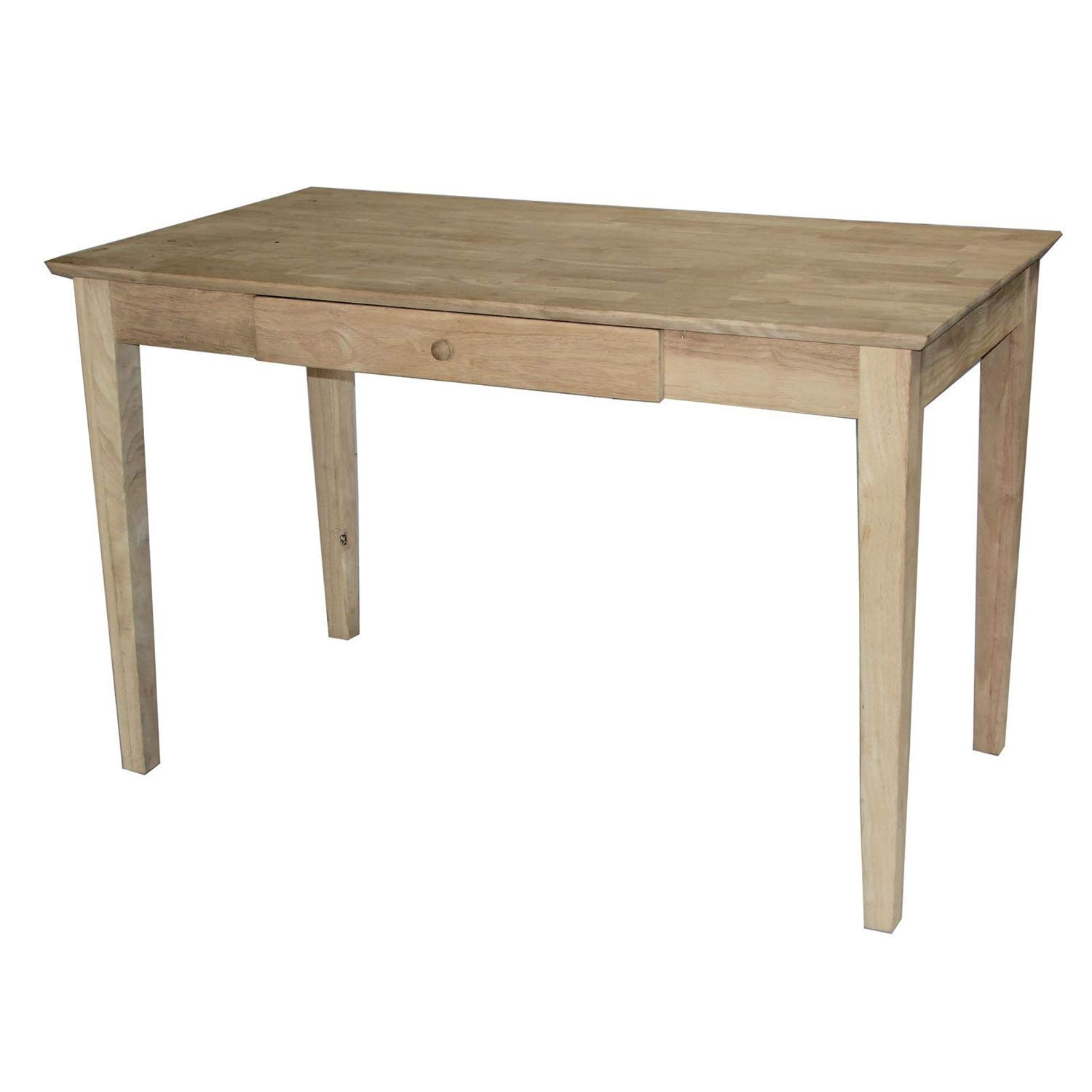 Trustpurchase Unfinished Solid Wood Desk Laptop Computer Writing Table with Drawer, This Quaint Desk is A Blank Canvas Just Waiting for Your Personal Stamp, it Features Clean Lines, Ample Work Space
