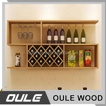 Wall Hanging Wine Wood Shelf Wine Bottle Display Rack For Sale