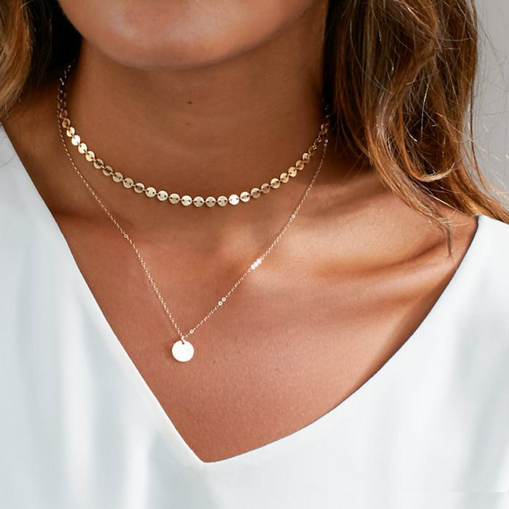 Hot Sell Fashion Simple Gold color Coins Choker Necklace Multilayer Sequins Round Pendant Necklace For Women Jewelry Wholesale