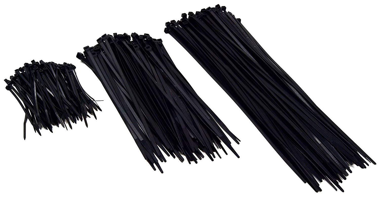 "100 Pack 4"" 8"" 12"" Black Heavy Duty Tensile Nylon Cable Zip Ties 300 Pcs Total"