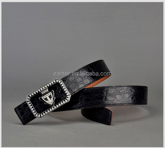 Classic Handmade Men Genuine Crocodile Leather Belt Black with Stainless Steel Buckle