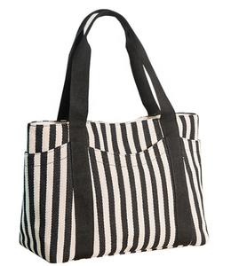 8a3c1be5d3a6 2019 new fashion hot sell eco-friendly reusable lady cotton canvas black  and white stripe beach bag tote bag handbag