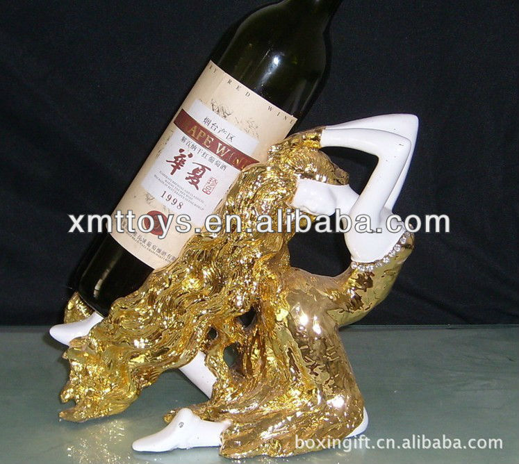 welcome customized resin lady shape wine rack craft export from shenzhen