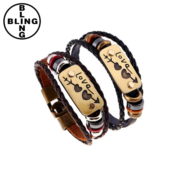 Fashion Cheap Couple Jewelry For Men and Women New lovers Bracelet Charm Double Heart Love Leather Bracelet