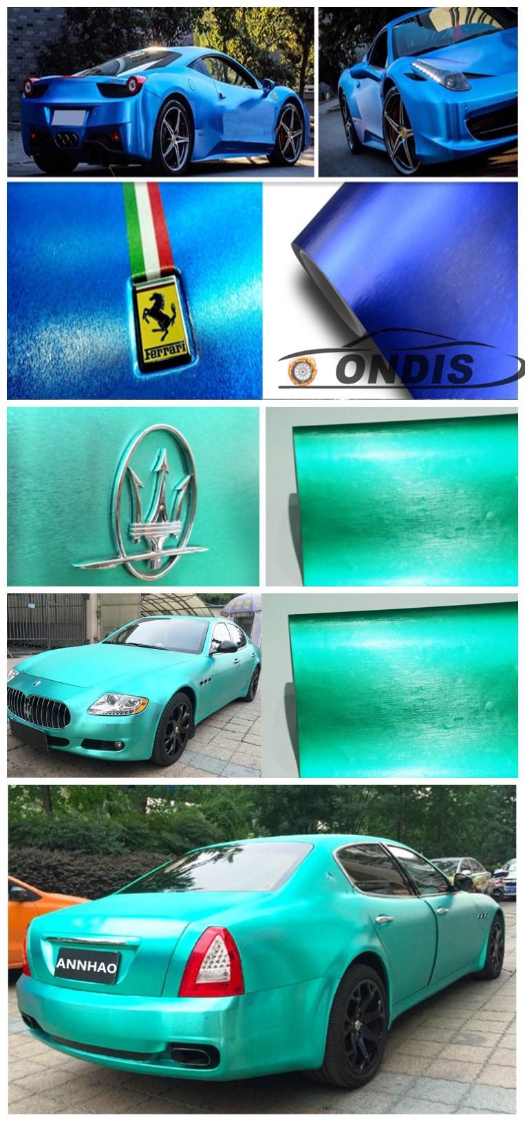 Hoge Premium Kwaliteit Car Wrapping Materiaal 1.52*18 m Matte Metallic Brushed Chrome Goud Auto Wrap Vinyl