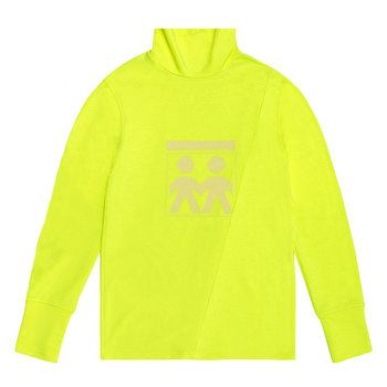 Unisex Urban Wear Navy-Yellow Turtleneck Collar Long Sleeve Cotton Jersey Pullover Frozen Yellow Diagonal Seams Screen Printing