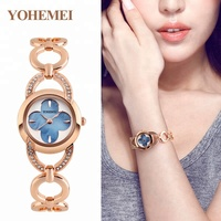YOHEMEI Trendy Design Women Flower Shape Quartz Watches Girls Chains Rhinestone Wristwatches Simple Brand Waterproof Watch