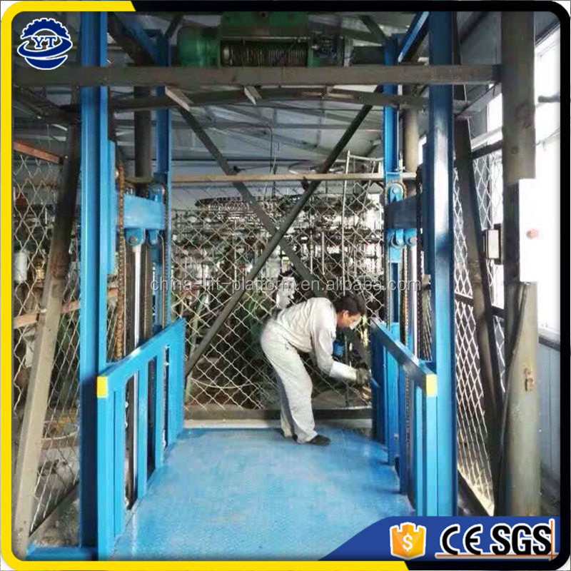 Hot sale construction site heavy duty load capacity cargo lift/electric guide rail warehouse elevator