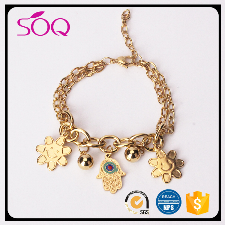 Simple design fashionable olivia pave chain link gold chunky flower pave bracelet