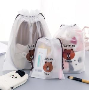 Custom eco pvc matte waterproof shoes storage dust cute printed drawstring makeup bag for travel