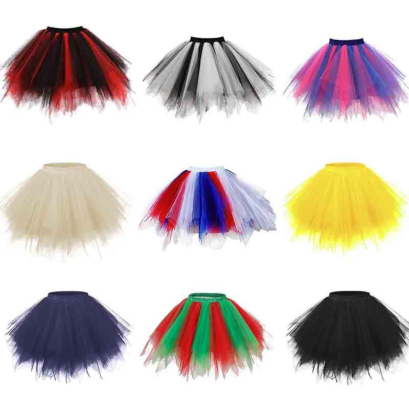 Adult Women's 1950s Vintage Petticoats Bubble Tutu Dance Half Slip Skirt