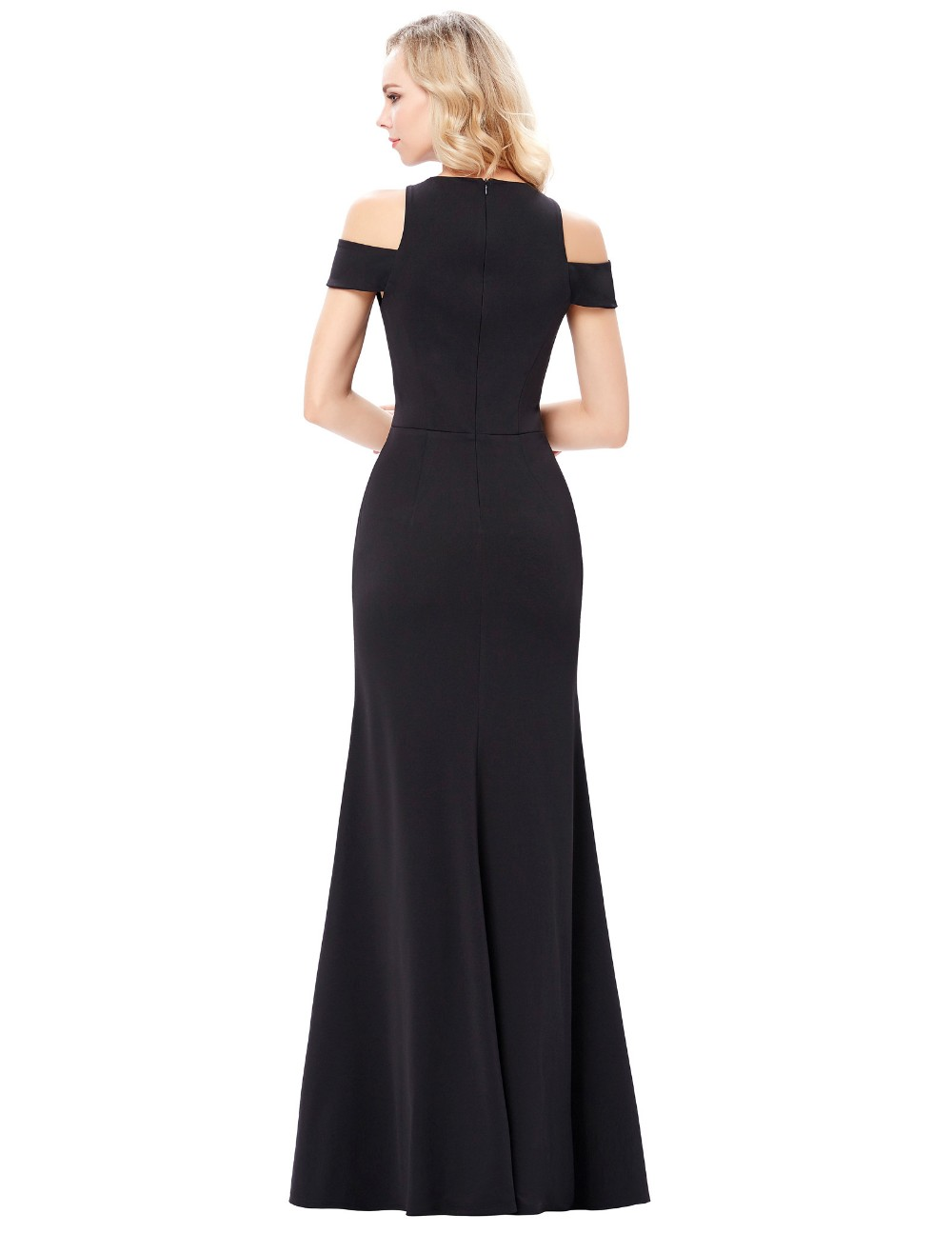 Kate Kasin Full-Length Cap Sleeve Long Black High Split Prom Dress KK001017-1