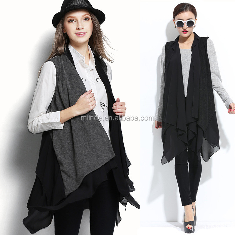 987b3cf7924 Plus Size European Fashion Trend Chiffon Patchwork Knit Casual Long Ruffle  Irregular Vest Women Ladies Big
