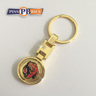 Custom logo gold plating metal keyring customized shape 1.25inch NO MOQ fansion design double sides wholesale keychain charms