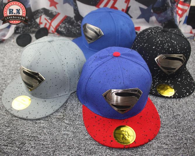 2015 новинка мужская обычная шапки, Супермен логотип хип-хоп хлопок достиг максимума шляпу, Свободного покроя на открытом воздухе путешествие snapback sunhat
