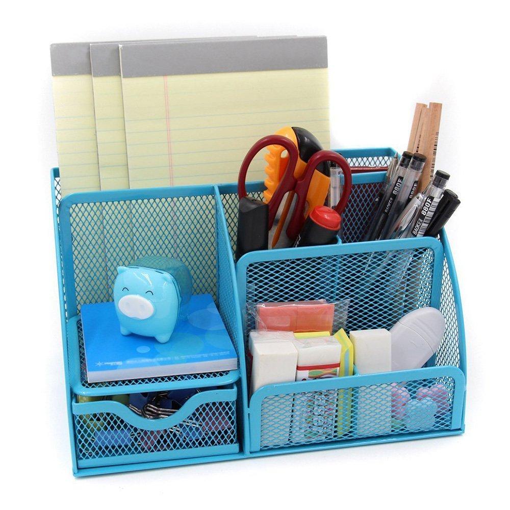 LOHOME® Desk Organizer, Space Saving Mesh Desk Organizer 5 Components Office Supply Caddy Combination Pen Holder Card Case Organizer Storage Box with Drawer (Black)