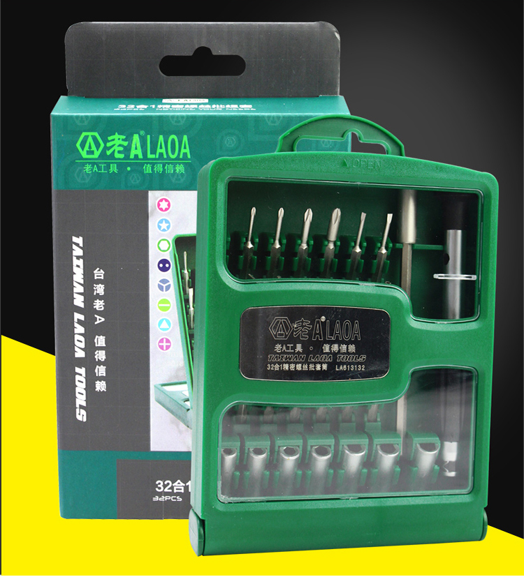 LAOA S2 material 31 pcs precision screwdriver set for cellphone clock laptop repairing