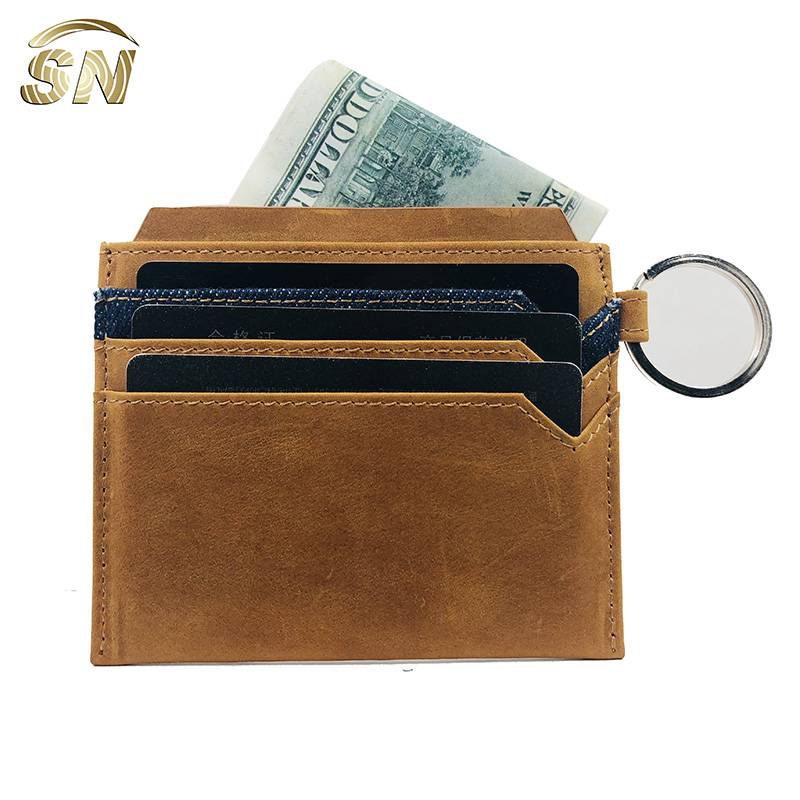 custom crazy horse nice top grain leather RFID blocking business card wallet holder