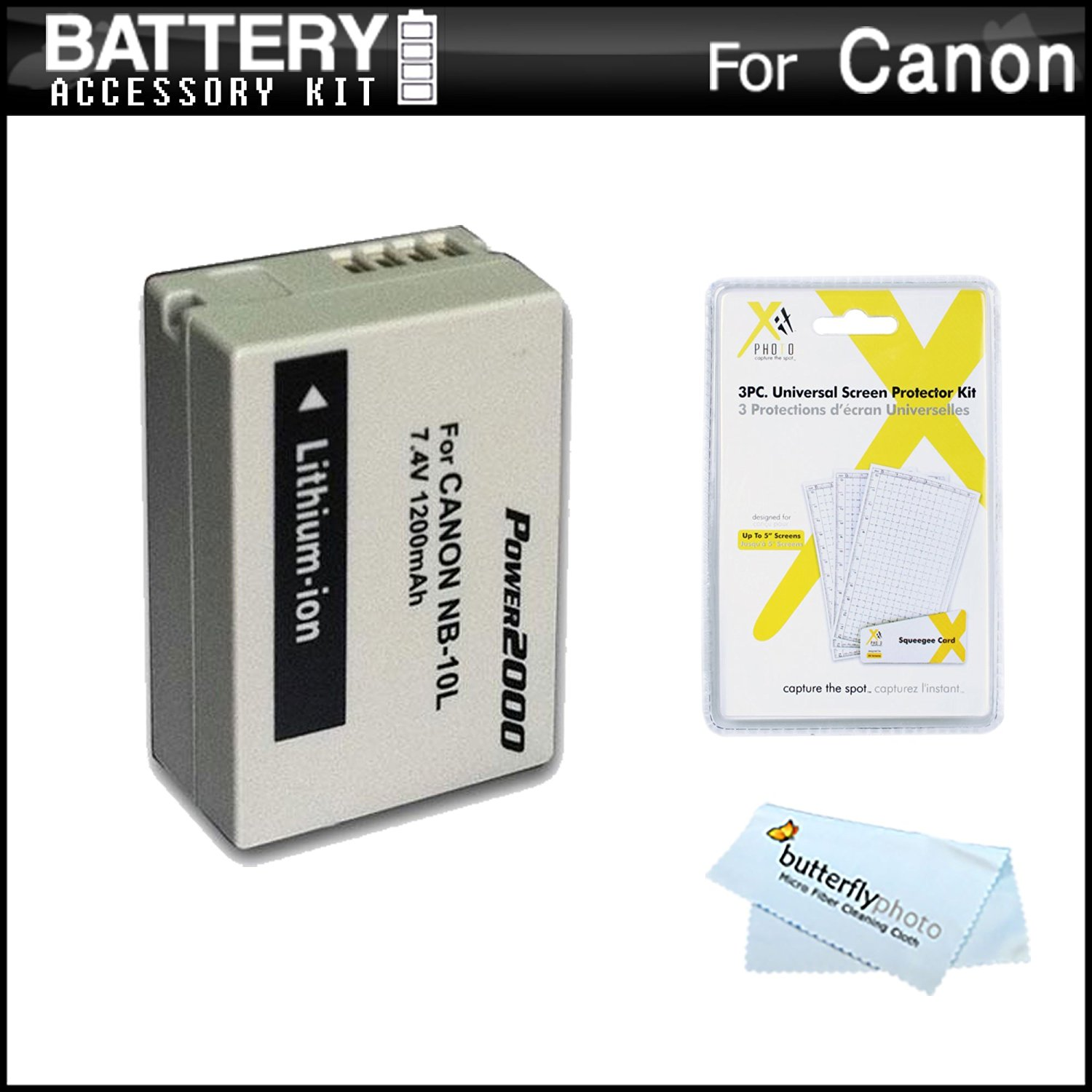 NB-10L Battery Kit For Canon PowerShot SX40 HS, SX40HS, SX50 HS, SX50HS, Powershot G15, PowerShot G16, G1 X, G1X, G3 X Digital Camera Includes Extended Replacement (1200Mah) NB-10L Battery + More