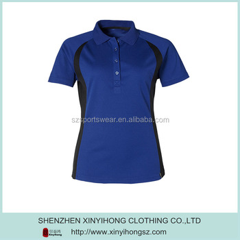Ladies royal blue color performance dry fit golf polo for Custom dry fit polo shirts