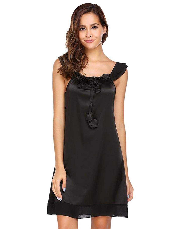 a6a94e28c Get Quotations · NCOEM Women Elegant Sleeveless Sleepwear Summer Lace-up  Casual Mesh Patchwork Tie Nighties Sexy Sleep