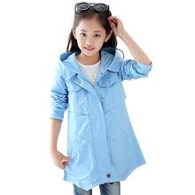2016 autumn girls jacket fashion children s clothing big kids child medium long outerwear girl trench