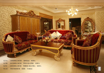 French Baroque Design Wood Carved Red Fabric Sofa Set Classic Royal Living Room Furniture High