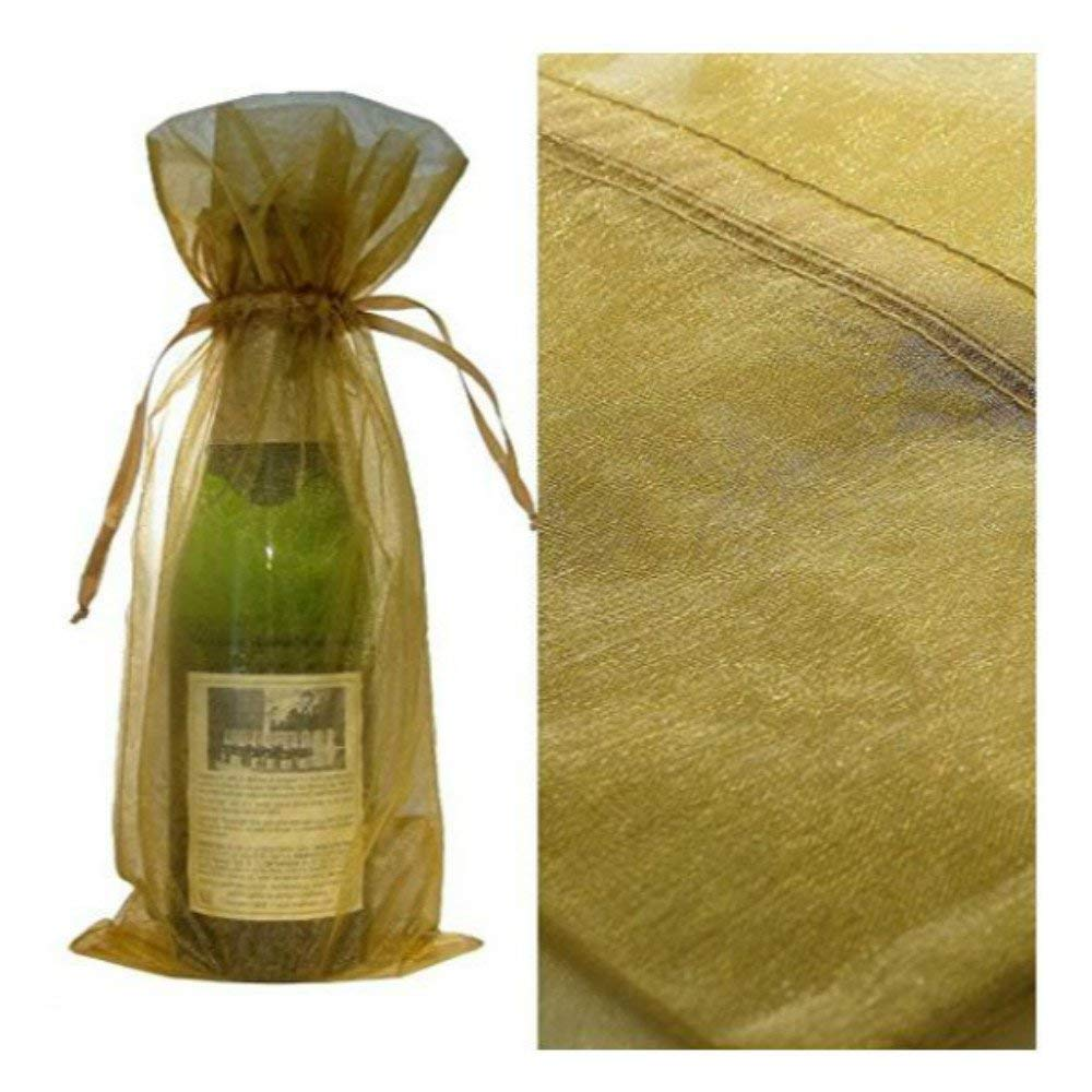 Get Quotations · Nicedeal 10Pcs Organza Wine Bottle Bags Tall Candles Graduation Day Holiday Gift Wrap Gold for Kitchen