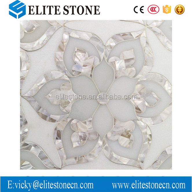 Good Quality Flower Design Marble Waterjet Tile Thassos White Shell Mosaic    Buy Marble Waterjet Tile,Waterjet Shell White Marble Tile,Flower Design  Marble ...