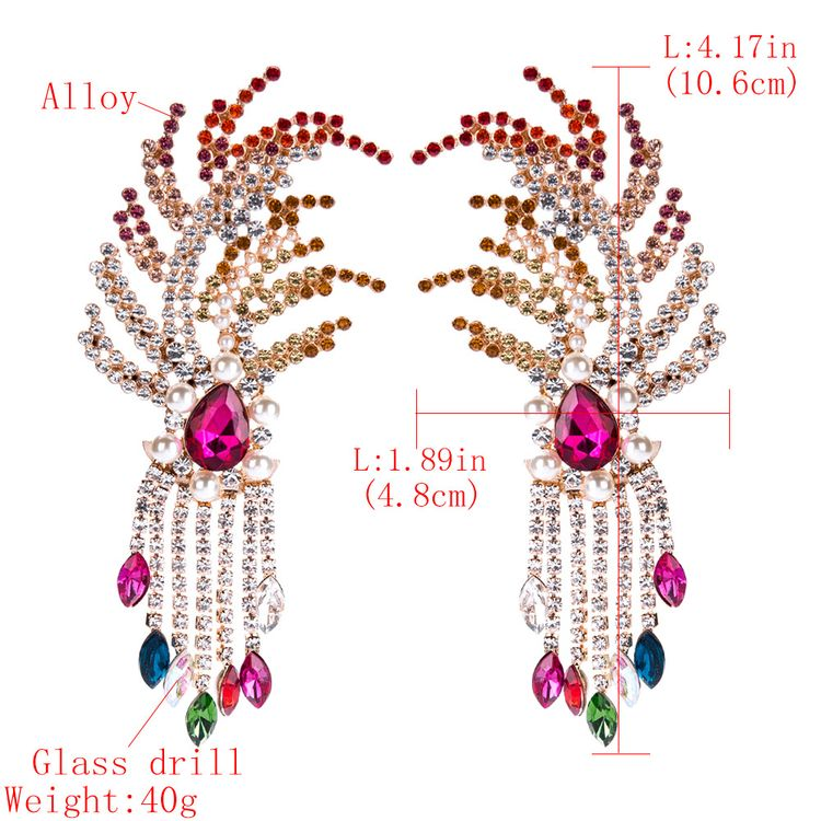 2019 Fashion Bohemian Style Exaggerated Alloy Tassel With Multi Color Diamonds Earring For Women