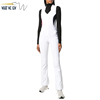 Custom Women Fashion Contrast Color Sleeveless One Piece Zip Sexy Low Collar Jumpsuit