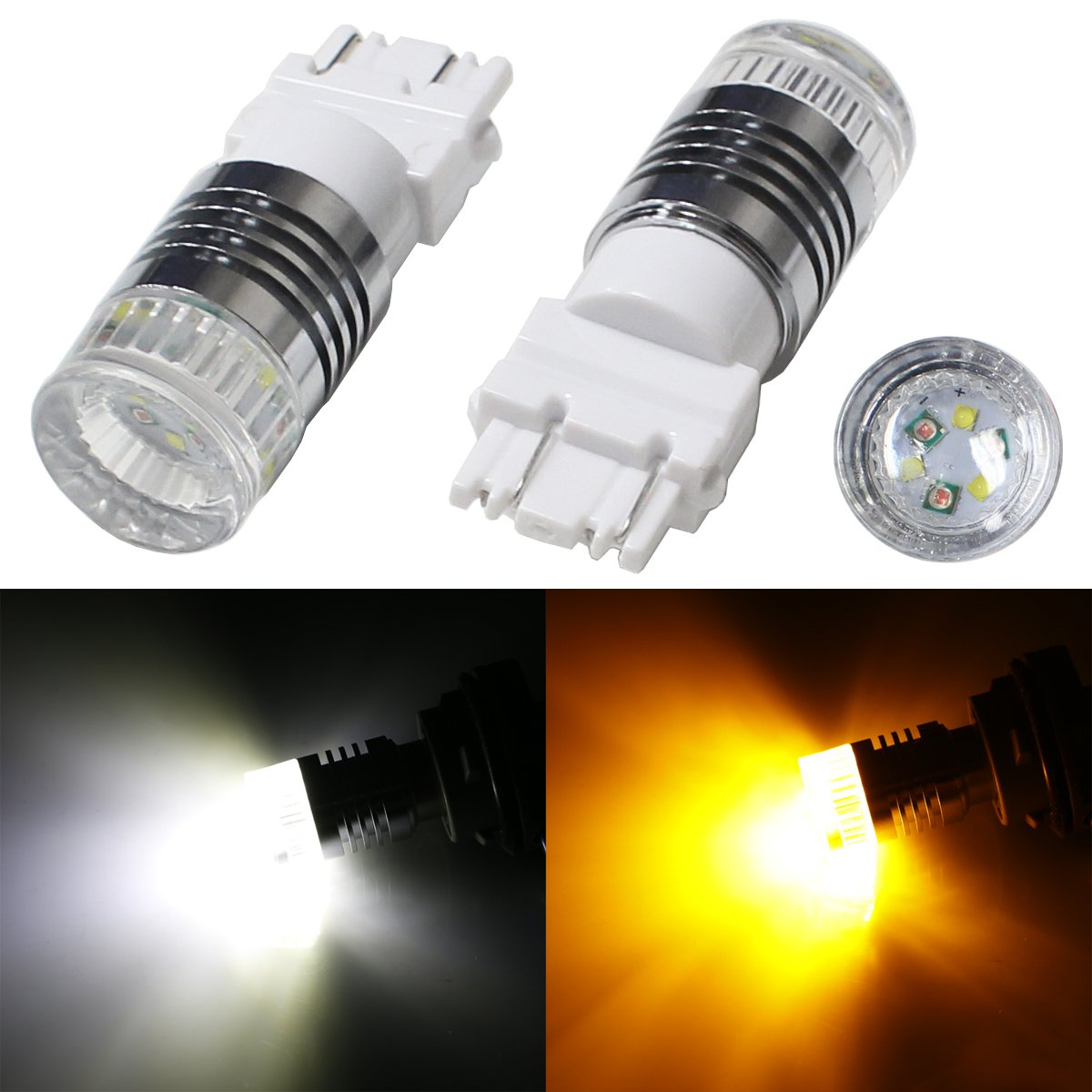 iJDMTOY (2) High Power 30W CREE White/Amber 3157 3357 3457 4157 4357 Switchback LED Bulbs For Front Turn Signal Lights
