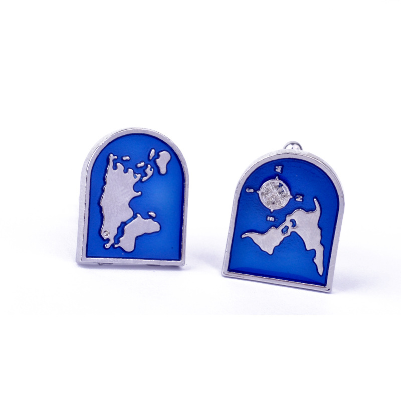 Wholesale Fashion Blue World Map Cuff Links
