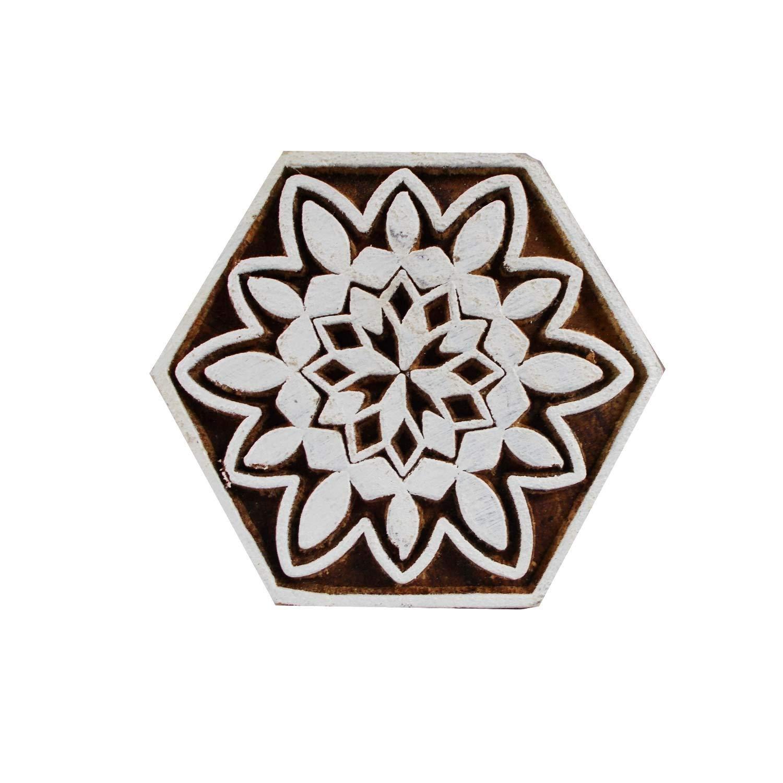 868b067c14ee Get Quotations · Pentagon Shape Motif Printing Blocks Wooden Stamps Fabric  Scrapbook Heena Tattoo Clay Craft Wood Print