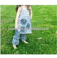 2015 summer fall baby teen girls boutique gallus flower gray solid cotton stripe girl dress remake printed outfit