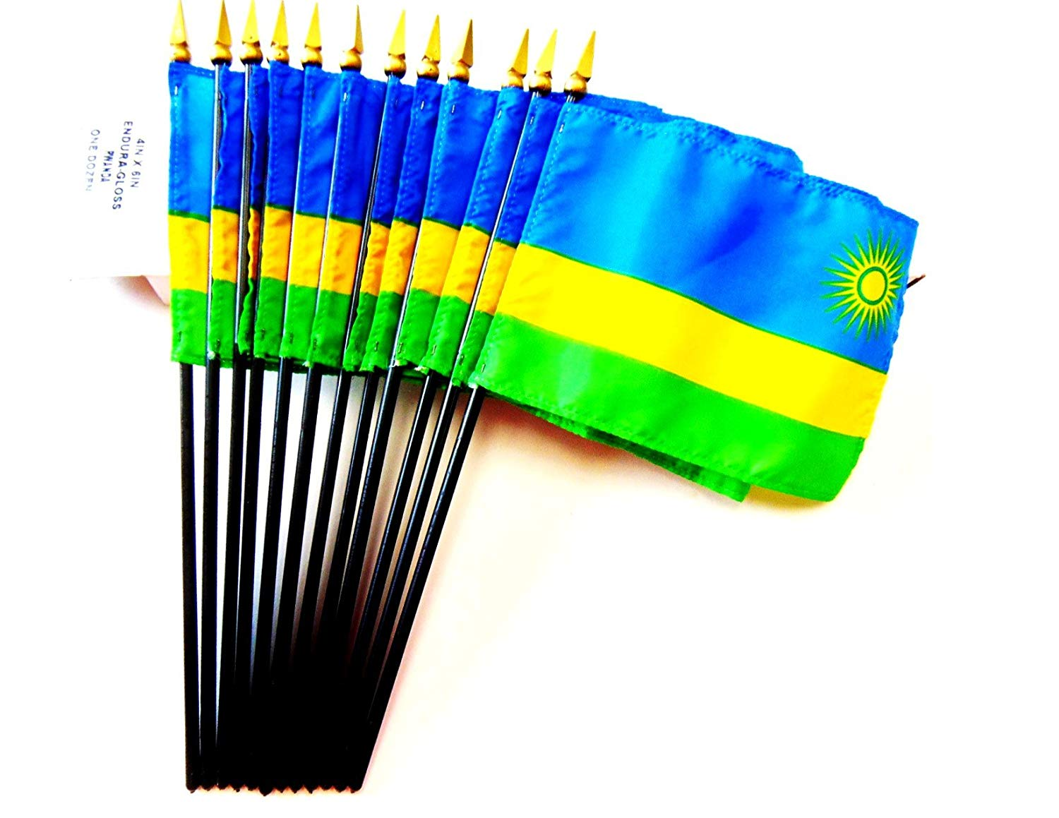 "MADE IN USA!! Box of 12 Rwanda 4""x6"" Miniature Desk & Table Flags; 12 American Made Small Mini Rwandan Flags in a Custom Made Cardboard Box Specifically Made for These Flags"