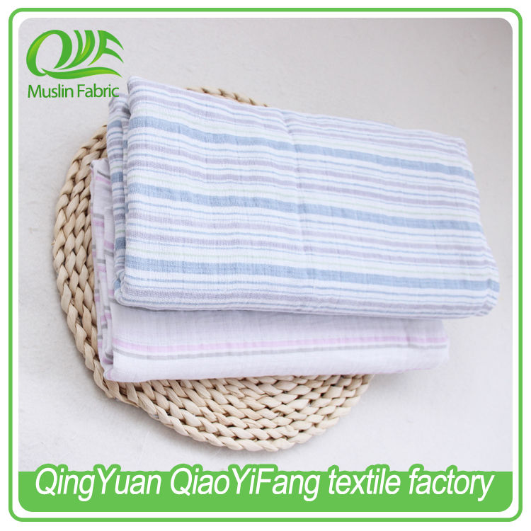 Factory supply, small square 100% cotton high quality small square printed muslin fabric