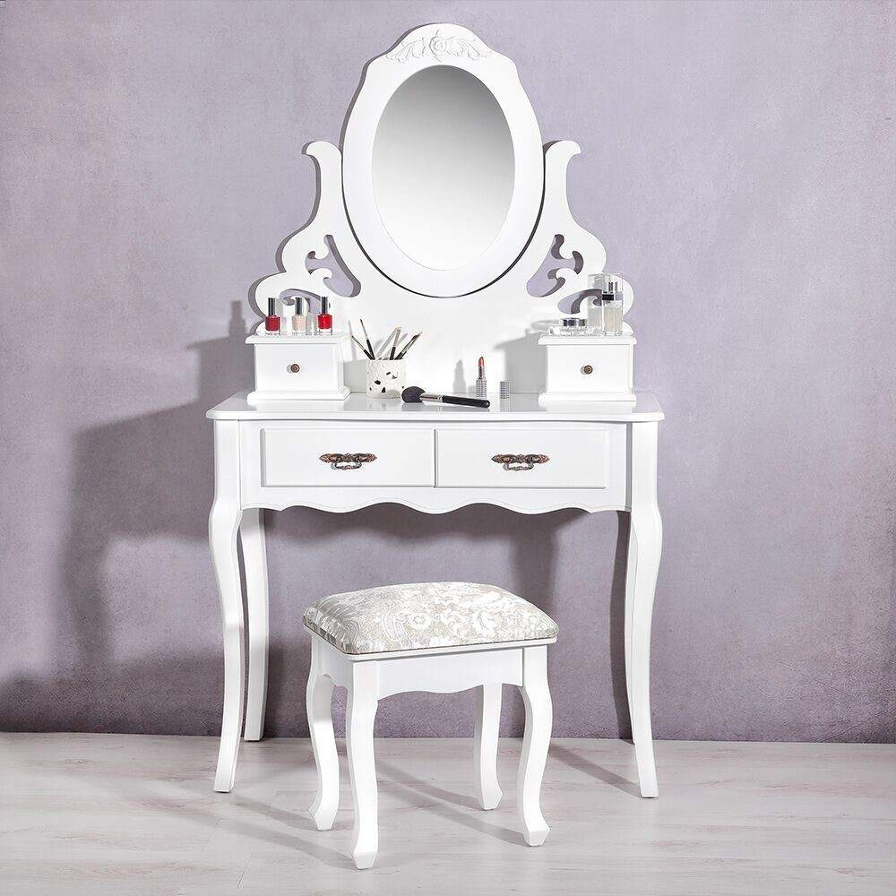 Vanity Dresser Stool Mirror Set Girls Kids Childs Dressing Table