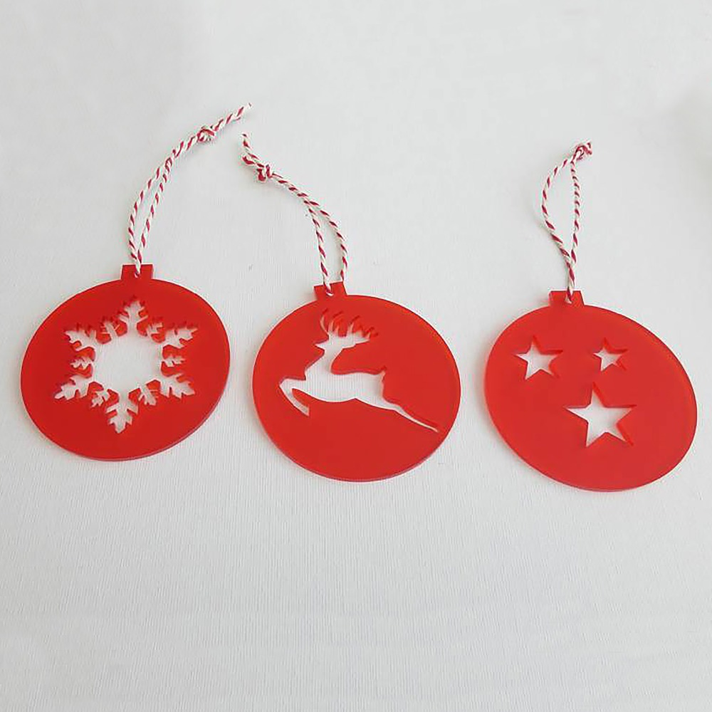 Hanging Outdoor Christmas Decoration, Laser Cut Acrylic Christmas Ornaments