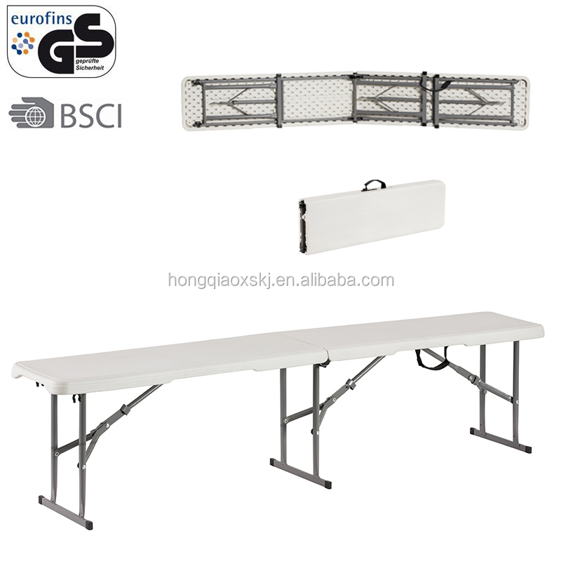 2016 new style 6ft 183cm white outdoor plastic long folding benches