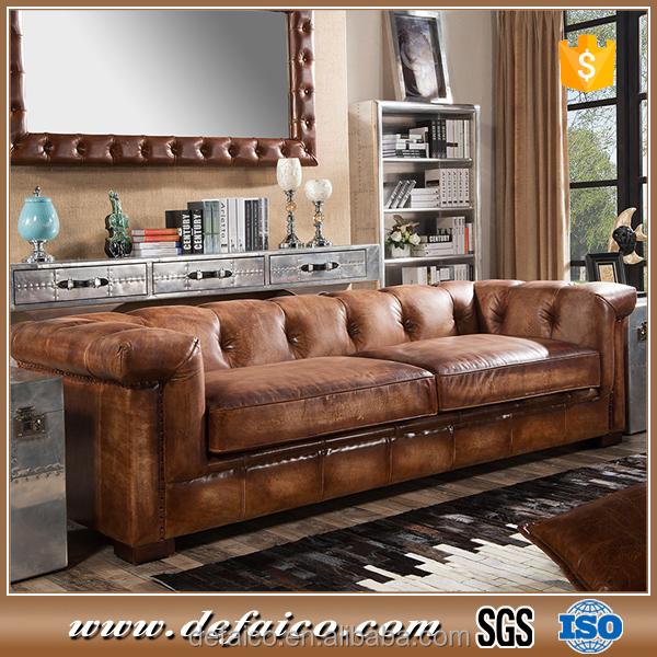 Amerikaanse Leren Bank.American Chesterfield Brown Leather Living Room Sofa Buy Living