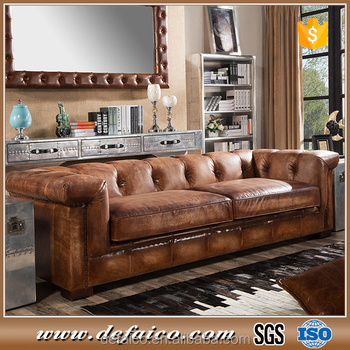 American Chesterfield Brown Leather Living Room Sofa - Buy Living Room  Sofa,Chesterfield Living Room Sofa,American Living Room Sofa Product on ...