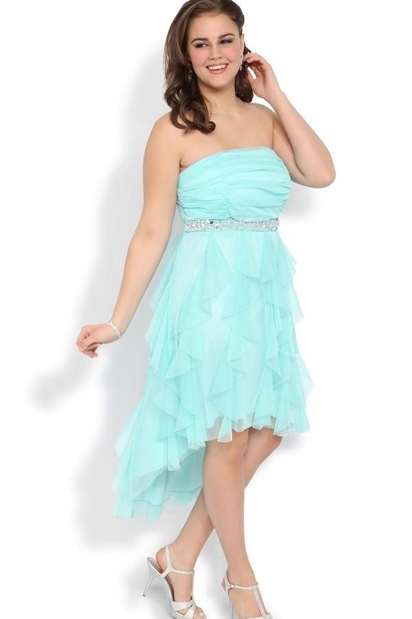 Buy Big Size Women Dress High Low Chiffon Ruffle Formal Gown