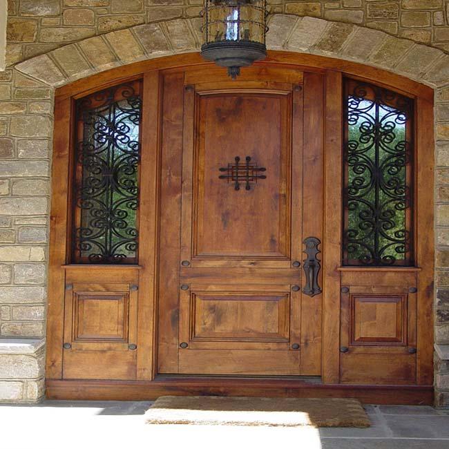 2018 Double Leaf Main Entrance Wooden Swing Door Design