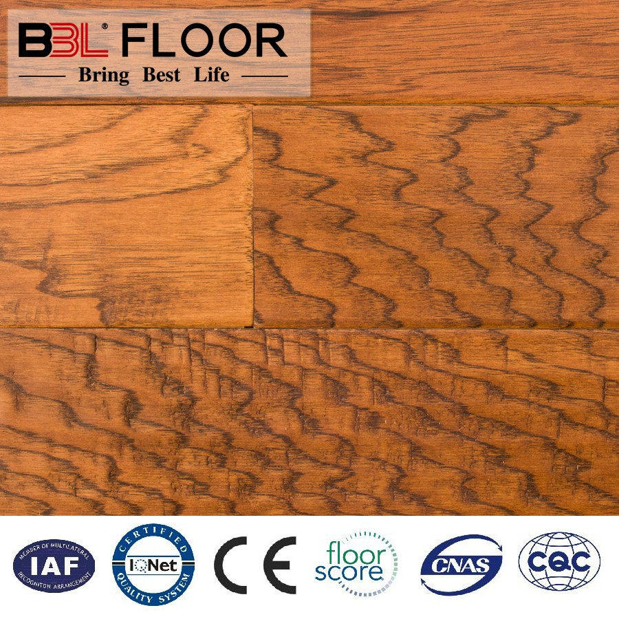 Pre-finished Hickory multi-layer engineered flooring/ handscraped