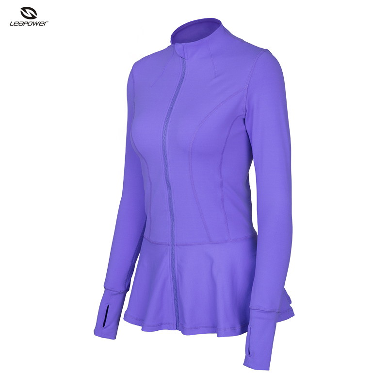 Latest Design Spandex Fitness Clothes for Women Purple Black Zip Up Running Hoodie Yoga Workout Jacket
