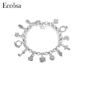 Wholesale Women Bulk Jewelry Love Cross Star Ring Silver Chain Charm Bracelet