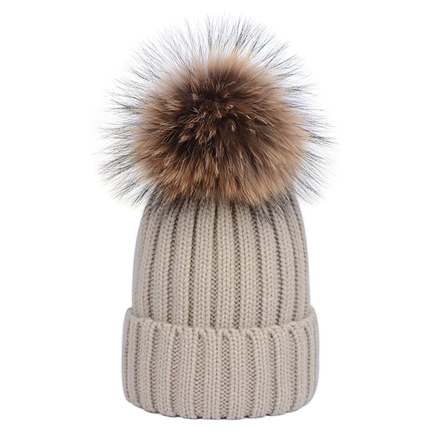 Get Quotations · DELORESDKX Women Winter Knitted Beanie Hats Real Raccoon  Fur Pom Pom Hats Caps Soft b5813930e1a0