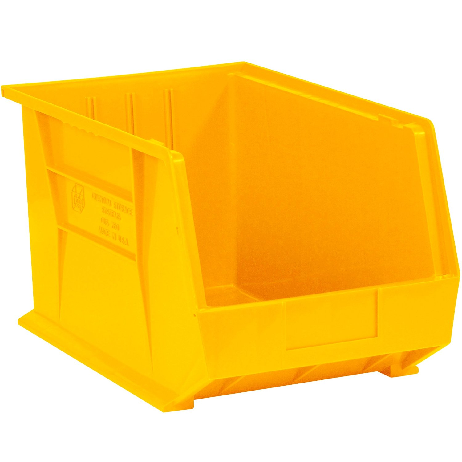 "Aviditi BINP1611Y Plastic Stack and Hang Bin Boxes, 16"" x 11"" x 8"", Yellow (Pack of 4)"